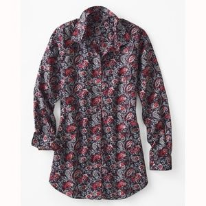 Garnet Hill Shirt Long Cotton Tunic Top 4 Paisley